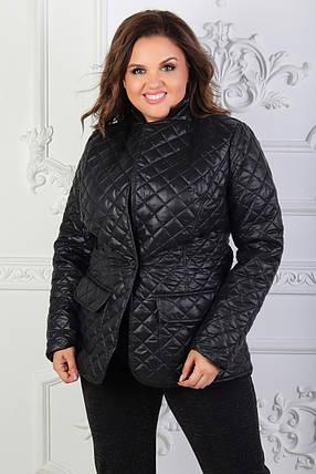 """Стеганая женская куртка-пиджак """"CHEER"""" с карманами (большие размеры, фото 2"""