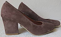 Nona! женские качественные классические туфли замшевые цвета какао взуття на каблуке 7,5 см черевики