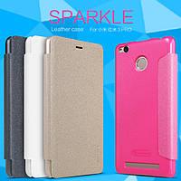Кожаный чехол (книжка) Nillkin Sparkle Series для смартфона Xiaomi Redmi 3 Pro / Redmi 3s