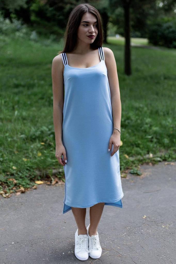 Голубое хлопковое платье CARRIE в стиле спорт-шик
