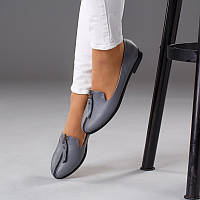 Женские туфли с молнией на тонкой легкой подошве. Кожа серая 699da20f487