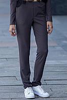 Серые брюки Frida из трикотажа в стиле спорт-шик глубокой посадки