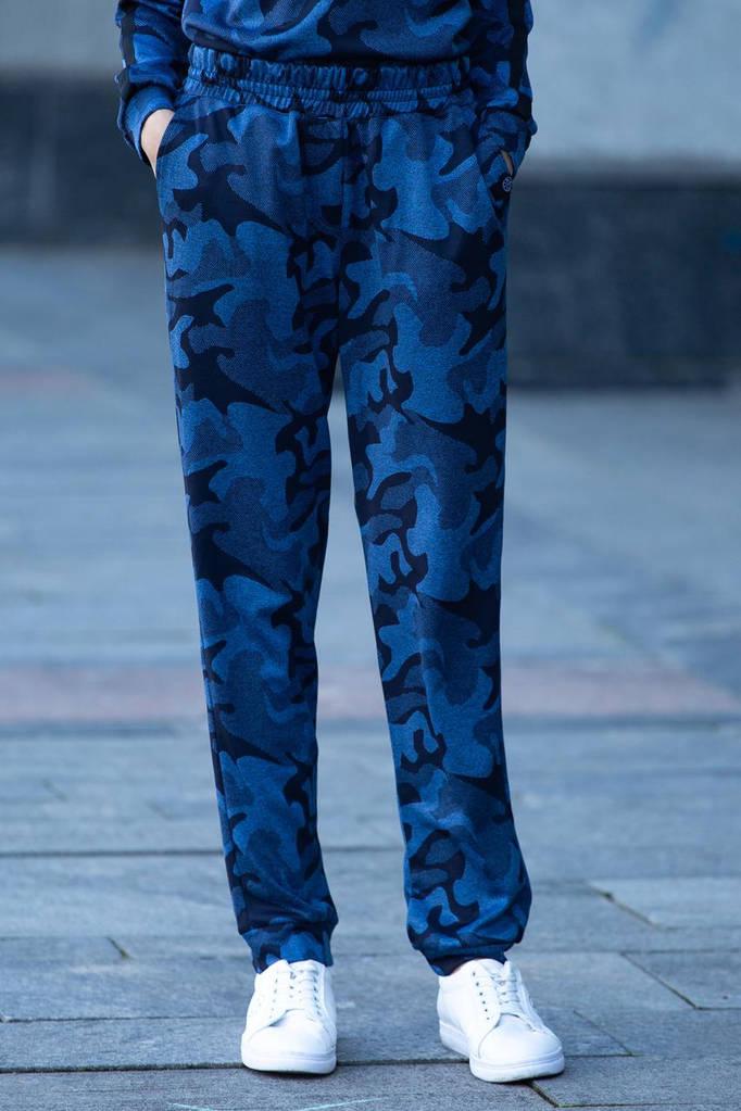 Синие трикотажные брюки Kateri в камуфляжной расцветке