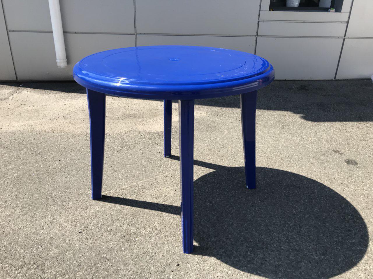 Круглый пластиковый стол для дачи,сада,кафе и т.д. Синий d 90см