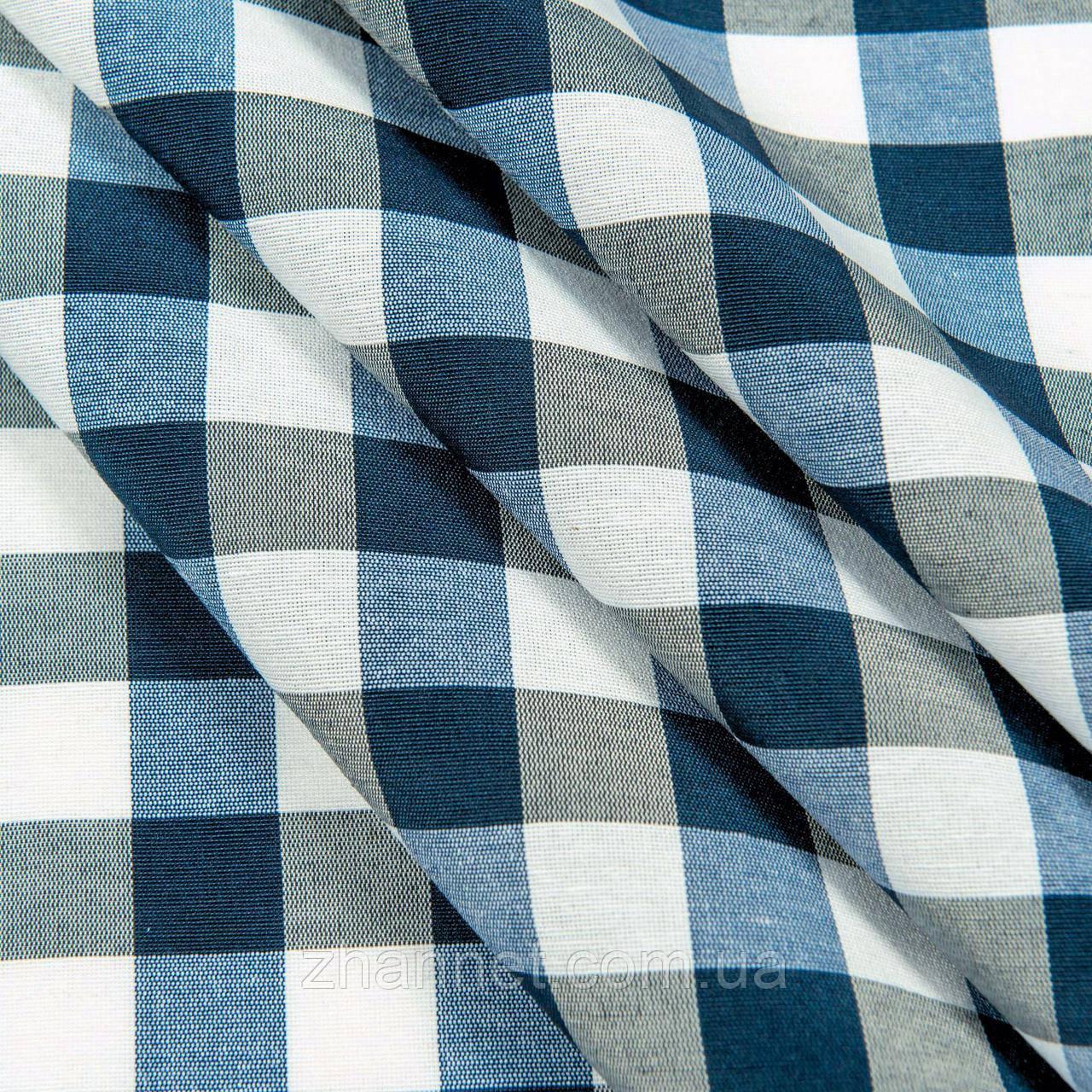 Ткань для скатерти в клетку Весна синий 150 см (77597)