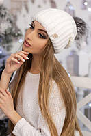Вязаная женская шапка Роберта белая