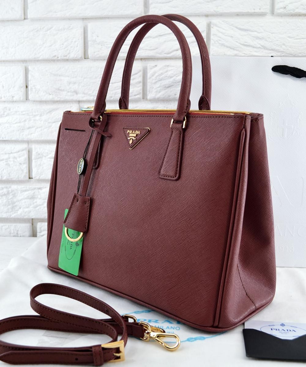 a1e60755af63 Женская сумка PRADA Saffiano Lux Tote Bag Burgundy (6875): продажа ...