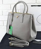 Женская сумка в стиле PRADA Saffiano Lux Tote Bag Grey (6876), фото 1