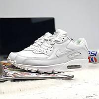 dc4301cdb18f Белые Кроссовки Найк Nike Air Max 90 Leather All White (Арт. 0018 ...