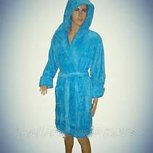 """Женский махровый халат Soft (Короткий с капюшоном) """"Голубой"""" - Турция"""