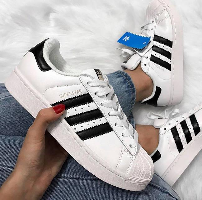 5296e36a0b7e Женские кожаные кроссовки Adidas Superstar (реплика)  продажа, цена ...