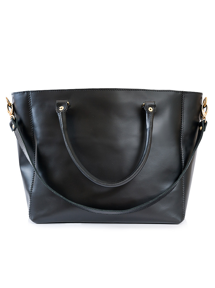 Кожаная сумка черная Liya 6694-11