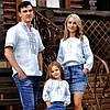 Комплект вышитых блуз для мамы, папы и дочки из тончайшего льна с нежной вышивкой