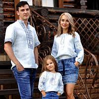 Комплект вышитых блуз для мамы, папы и дочки из тончайшего льна с нежной вышивкой, фото 1