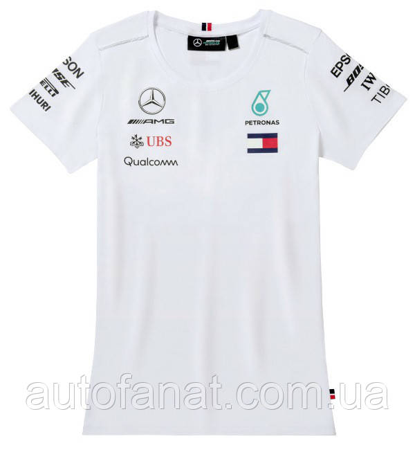 Оригинальная женская футболка Mercedes-AMG Petronas Women's T-shirt, Driver, Men's, White (B67996107)