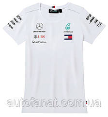 Оригинальная женская футболка Mercedes-AMG Petronas Women's T-shirt, Driver, Men's, White (B67996107)