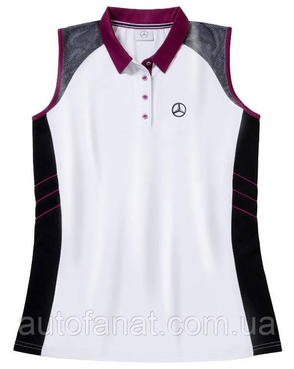 Оригинальная женская рубашка-поло Mercedes Women's Golf Polo Shirt, White / Black / Plum (B66958548)