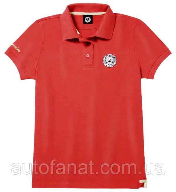 Оригинальная женская рубашка-поло Mercedes Women's Polo Shirt, Red / Gold-coloured (B66041602)