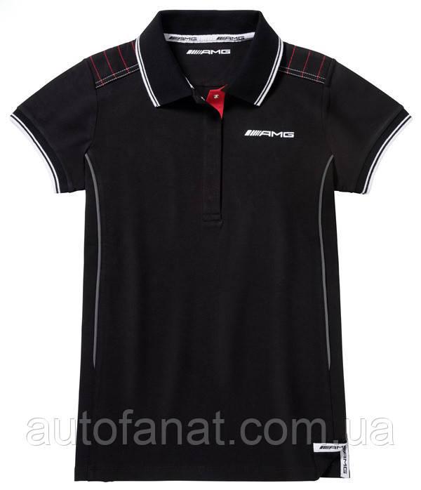 Оригинальная женская футболка поло Mercedes Women's Polo Shirt AMG, Black/Red (B66958293)