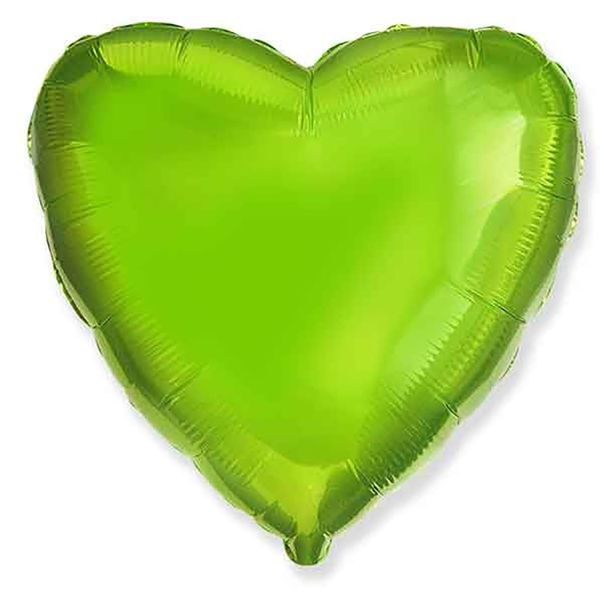 """Сердце 18"""" (46 см) Салатовое, Flexmetal"""