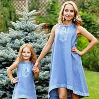 Комплект вишитих суконь оригінального крою для мами і доньки, фото 1