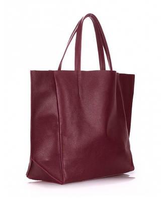 Сумка-шоппер кожаная Цвет:марсала 6578-11, фото 2