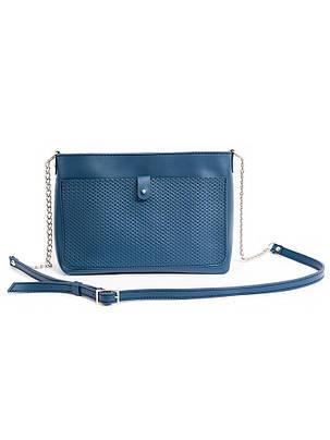 Клатч синий кожаный 6689-11, фото 2