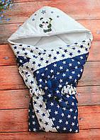 Осенний/весенний конверт одеяло для новорожденных с капюшоном   90х90см Звезды синий