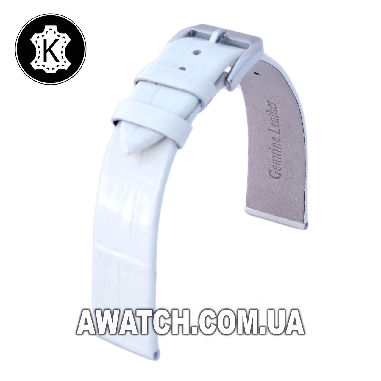 Ремінець шкіряний Catfskin для наручних годинників з класичною застібкою, білий, 14 мм