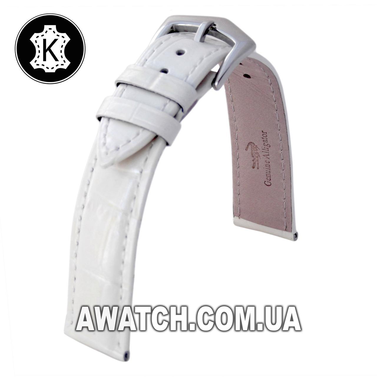 Ремінець шкіряний Catfskin для наручних годинників з класичною застібкою, білий, 20 мм