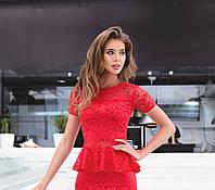 Кружевная кофта-баска с коротким рукавом, красная, фото 1