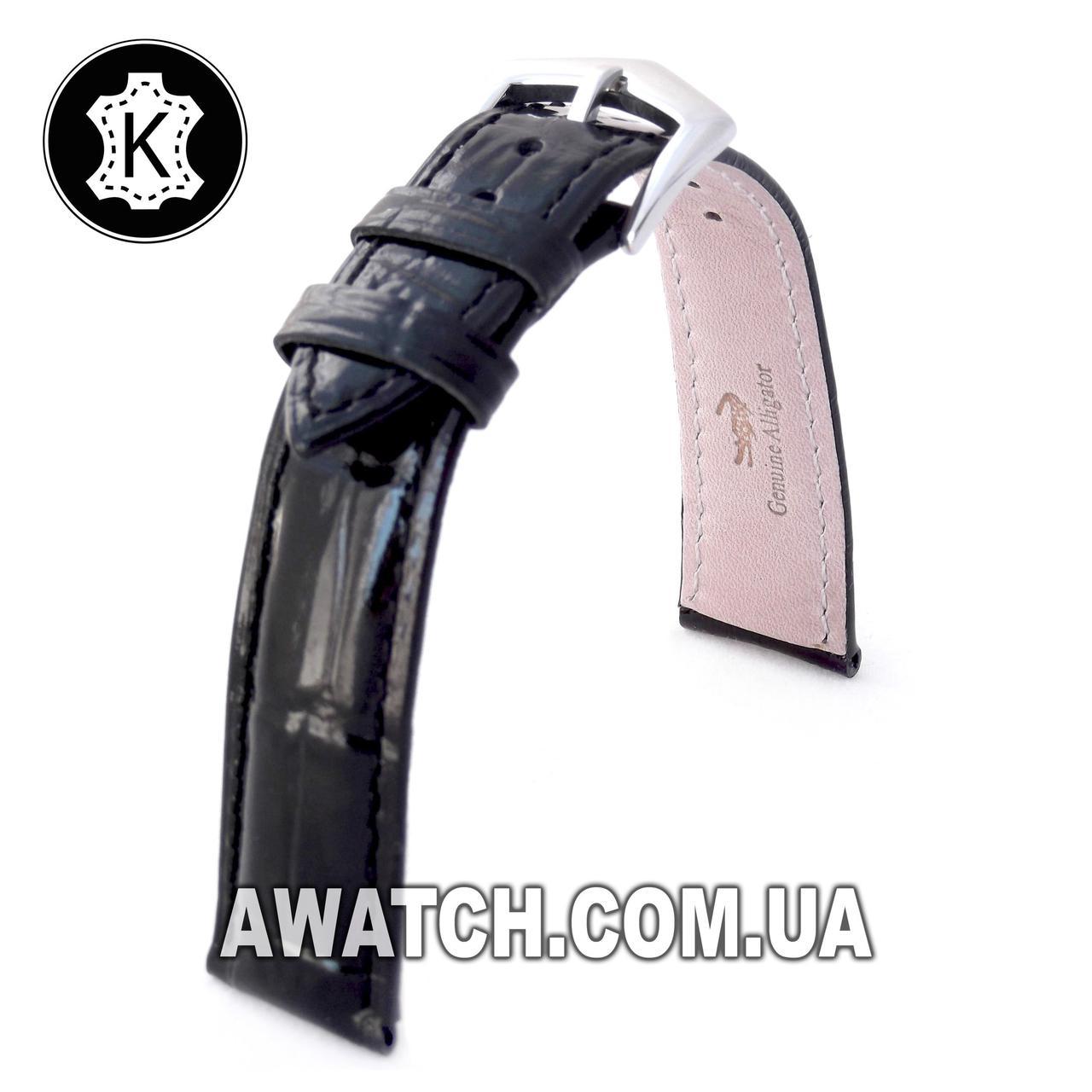Ремінець шкіряний Catfskin для наручних годинників з класичною застібкою, чорний, 18 мм