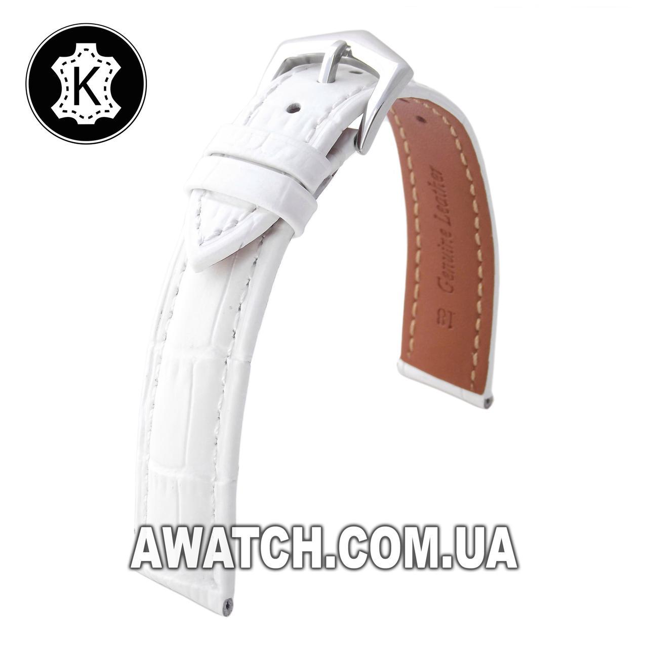 Ремешок кожаный Catfskin для наручных часов с классической застежкой, белый, 20 мм