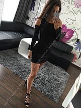 Платье мини с вырезами на плечах Черное, фото 3