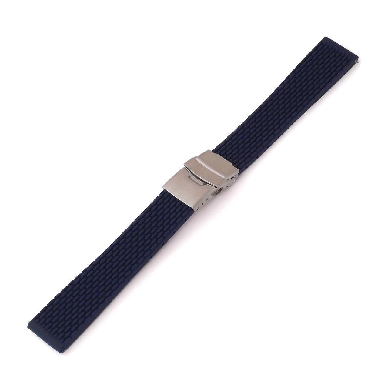 Ремешок каучуковый для наручных часов с застежкой фиксатором, темно-синий, 20 мм