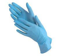 Перчатки нитриловые голубые, 100шт(размер М), фото 1