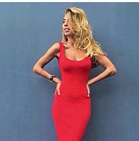 Летнее легкое платье-майка Микродайвинг Красное