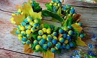 """Кокошник-венок на обруче/ободке для волос """"Гроздья Калины"""",желто-голубой, фото 1"""