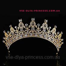 Диадема для невесты под золото с светлыми камнями, высота 5,5 см.
