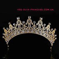 Корона, диадема, тиара в золоте с светлыми камнями, высота 5,5 см., фото 1