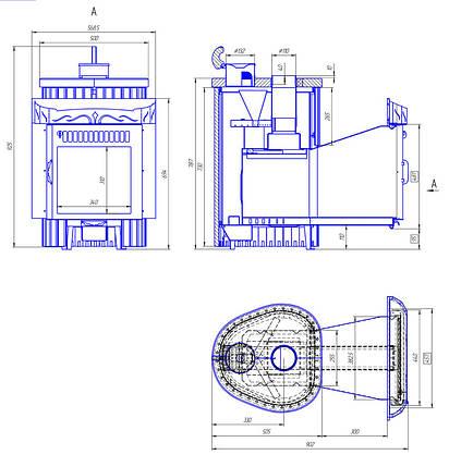 Дровяная печь для бани Ферингер Ламель Мини Жадеит + Россо Леванте Обрамление Камень (открытая каменка), фото 2