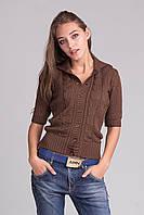 Стильная женская кофта с рукавом три четверти коричневая