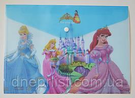 """Папка-конверт А4, на кнопке """"Принцессы"""" голубая"""