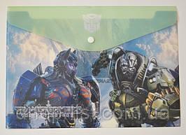 """Папка-конверт А4, на кнопке """"Transformers"""" салатовая"""