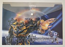 """Папка-конверт А4, на кнопке """"Transformers"""" серая"""