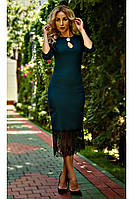 Торжественное женское изумрудное платье размер: С
