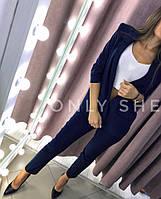 Женский элегантный костюм-двойка Стиль брюки и пиджак с карманами, фото 1
