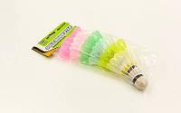 Воланы для бадминтона пластиковые (6шт) в пакете BD-2104-6 (цветные)