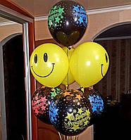 Гелиевые шарики С Днем Рождения + Смайлы 28/30 см.