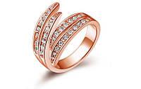 Позолоченное кольцо с фианитами р 17,18,19 код 311